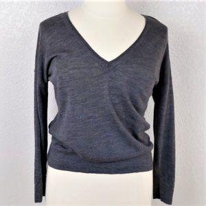 J. Jill Gray  Merino Wool V neck Sweater sz LP